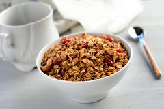 Breakfast cereals: homemade granola Royalty Free Stock Photo