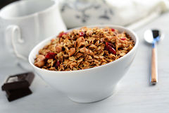 Breakfast cereals: homemade granola Stock Image