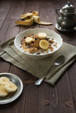 Breakfast cereals with milk and banana Royalty Free Stock Image