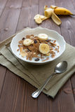 Breakfast cereals with milk and banana Royalty Free Stock Images