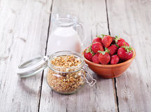 Breakfast with cereals, milk and strawberries Stock Photo