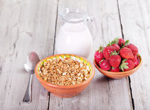 Breakfast with cereals, milk and strawberries Stock Image