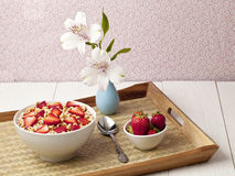 Breakfast cereals and strawberries Stock Photo
