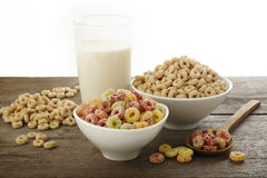 Breakfast cereals. On wooden background stock photography