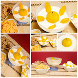 Breakfast cereals and yogurt with yellow plums Royalty Free Stock Images