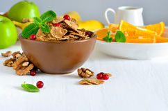 Breakfast with cerealsand fruits Stock Images