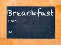 Breakfast Chalk Board. The breakfast chalk board vintage chalk table Royalty Free Stock Photos