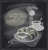 Breakfast chalkboard design with croissant and coffee. Royalty Free Stock Photo