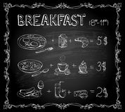 Breakfast chalkboard menu Stock Photos