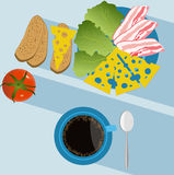 Breakfast. With cheese and bacon. Vector illustration Stock Images