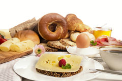Breakfast with Cheese bread, coffee, egg,ham and jam Royalty Free Stock Photography