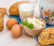 Breakfast of cheese, milk, bread and eggs Stock Photography