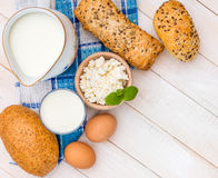 Breakfast of cheese, milk, bread and eggs Royalty Free Stock Image