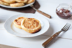 Breakfast with cheese pancakes, coffee and jam Royalty Free Stock Images