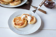 Breakfast with cheese pancakes, coffee and jam Royalty Free Stock Photos