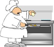 Breakfast Chef. This illustration depicts a chef cooking eggs Stock Photos