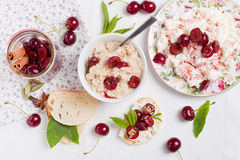 Breakfast with cherries Stock Photography