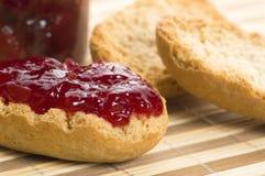 Breakfast of cherry jam on toast Stock Photo