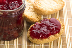 Breakfast of cherry jam on toast Stock Image