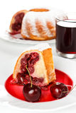 Breakfast with a cherry pie, juice and berries Stock Images