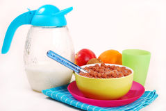 Breakfast with chocolate balls ,milk and fruits Royalty Free Stock Photography