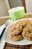 Breakfast with chocolate cookies Stock Image