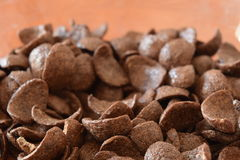 Breakfast Chocolate Corn Flakes. Close Up Royalty Free Stock Photography
