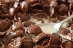 Breakfast Chocolate Corn Flakes. With Spoon And Milk Close Up Royalty Free Stock Image