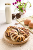Breakfast with chocolate croissants on white table.  stock images