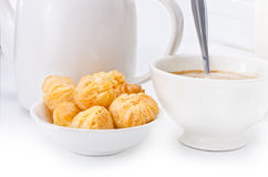 Breakfast with choux pastry  cocoa on clean white Royalty Free Stock Photography