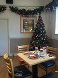 Breakfast and Christmas tree Royalty Free Stock Images