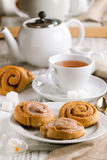 Breakfast with cinnamon bun Stock Photos