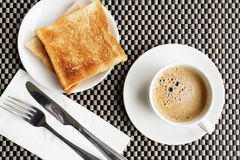 Breakfast. Close up bread and coffee Stock Image