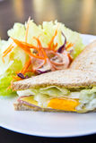 Breakfast,Club sandwich and salad Royalty Free Stock Image