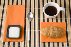 Breakfast with coffe and croissant Stock Photography