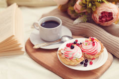 Breakfast with coffe and tasty cakes Royalty Free Stock Photos