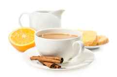 Breakfast.Coffee με την κρέμα και τη φρυγανιά Στοκ φωτογραφίες με δικαίωμα ελεύθερης χρήσης