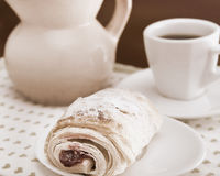 Breakfast with coffee. Cherry pie and coffee for breakfast,sepia toned Stock Image
