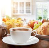 Breakfast with coffee. Healthy breakfast with coffee in sunny morning Royalty Free Stock Photo