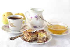 Breakfast with coffee and apple cake Stock Images