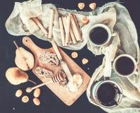 Breakfast - coffee break set. A pot -cezve- of coffee, two cups Stock Photo