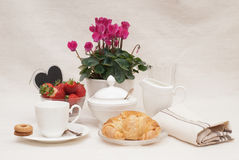 Breakfast. With coffee, brioche and strawberries Stock Images