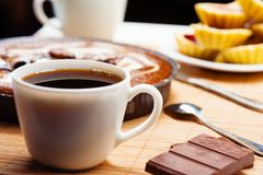 Breakfast. Coffee and cake. Royalty Free Stock Images