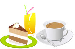 Breakfast. Coffee cake and juice breakfast  illustration Royalty Free Stock Photography