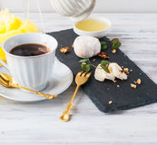 Breakfast coffee cheese, white mold honey nuts Stock Images