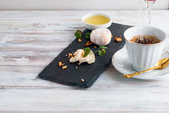 Breakfast coffee cheese, white mold honey nuts Stock Photos