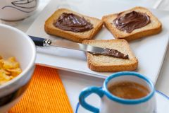 Breakfast With Coffee And Chocolate Royalty Free Stock Photo