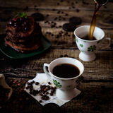 Breakfast: coffee, chocolate pancakes Stock Photos