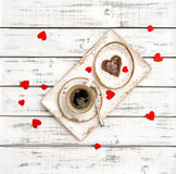 Breakfast coffee cookie Valentines Day decoration red hearts Stock Image