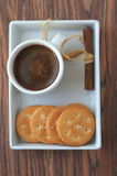 Breakfast with coffee and cookies. Cup of coffee and some cookies Stock Images